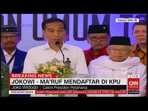 Puji Prabowo-Sandi, Ini Pidato Lengkap Jokowi Usai Daftar Capres #JokowiMaruf Pilpres 2019