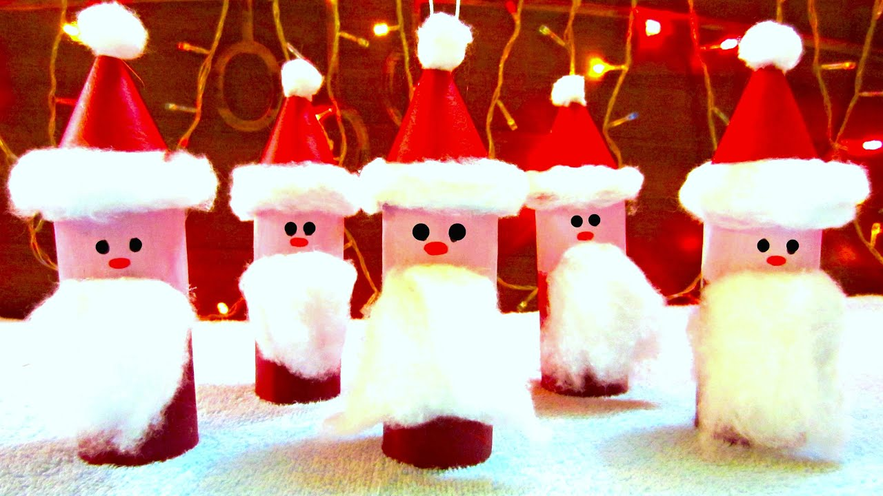 How to make a christmas decor out of recycled materials - Toilet Paper Roll Santa Claus Ornaments How To Make Christmas Ornaments Youtube