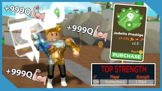 Becoming Prestige 9 Jadeite And Got On Top Strength Leaderboard! | Roblox Hammer Simulator