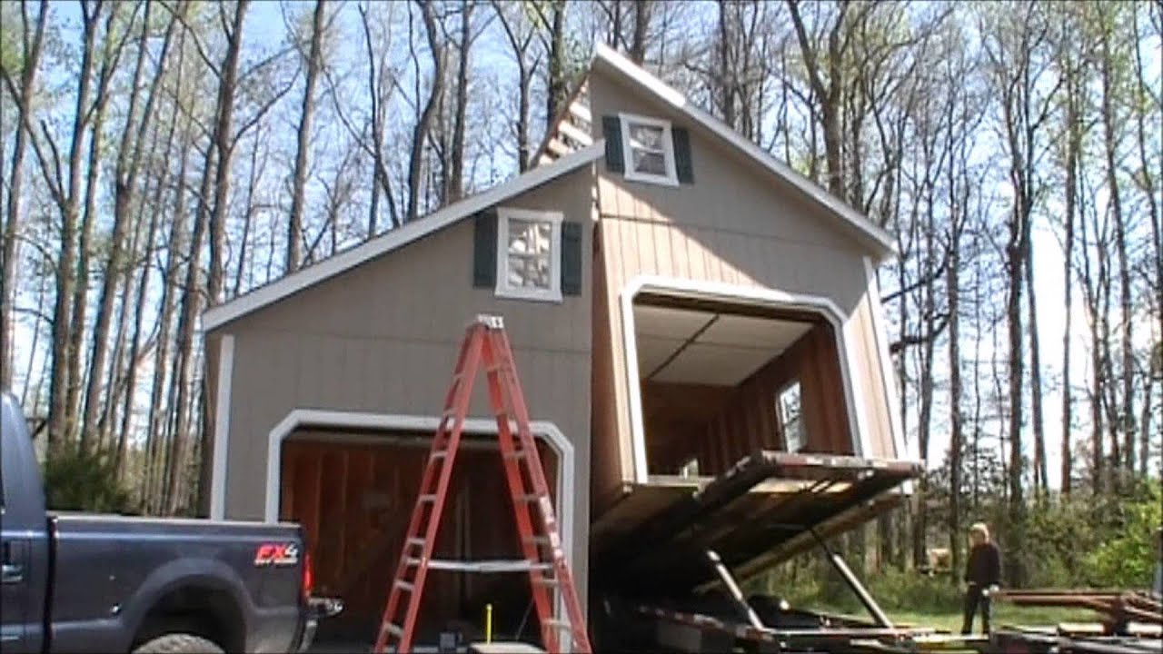 2 story 2 car garage youtube for Two story metal garage