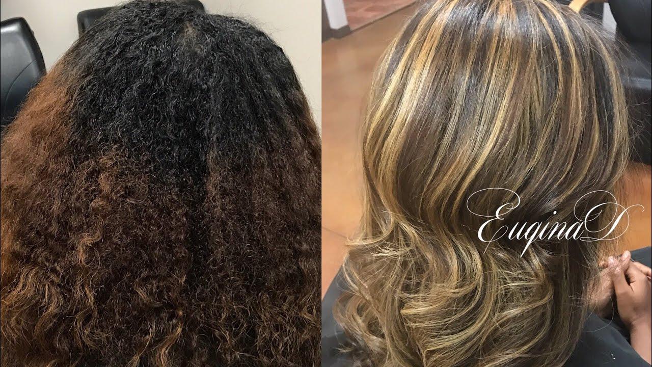 Natural Hair Chunky Highlights Blowdry And Flatiron Youtube