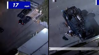 Police Chase Ends With SUV Driving Off Parking Deck
