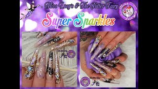 Acylic Nails - Extreme Length Sculpted - Tapered Square - Super Sparkles
