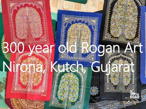 Seeing Rogan Art designs at the Khatri house in Nirona, kutch, Gujarat