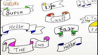 Doodle art | How to Ribbon Banner Doodles| Ribbon Banner Doodle