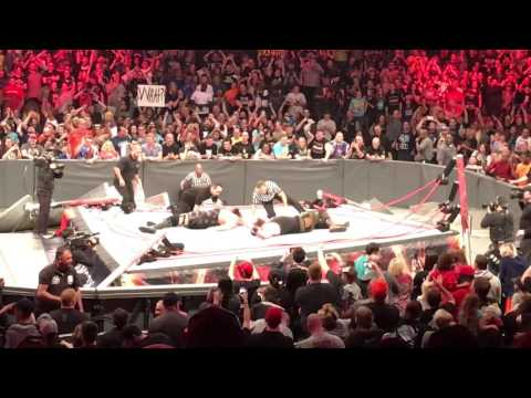 Live Reaction! Braun Strowman & Big Show Collapse Ring - WWE RAW, (4/17/2017) Live in Columbus, Ohio