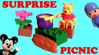 Lego Duplo Winnie The Pooh Picnic With Pocoyo & Mickey Mouse 5945 Surprise Eggs Disneybabytoys