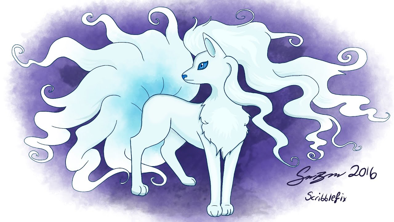 Alola Form Ninetails Pokemon Sun & Moon - Drawing - YouTube