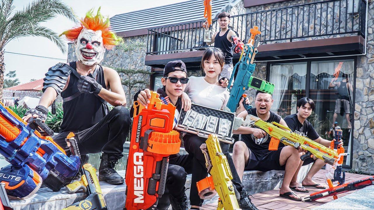MASK Nerf War : WAR OF GANGS Warriors Alpha Nerf Guns Fight CRIME CITY In The Villa