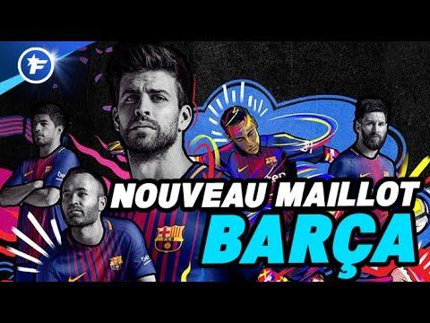 Le nouveau maillot domicile du fc barcelone 2017 2018 youtube - Logo barcelone foot ...
