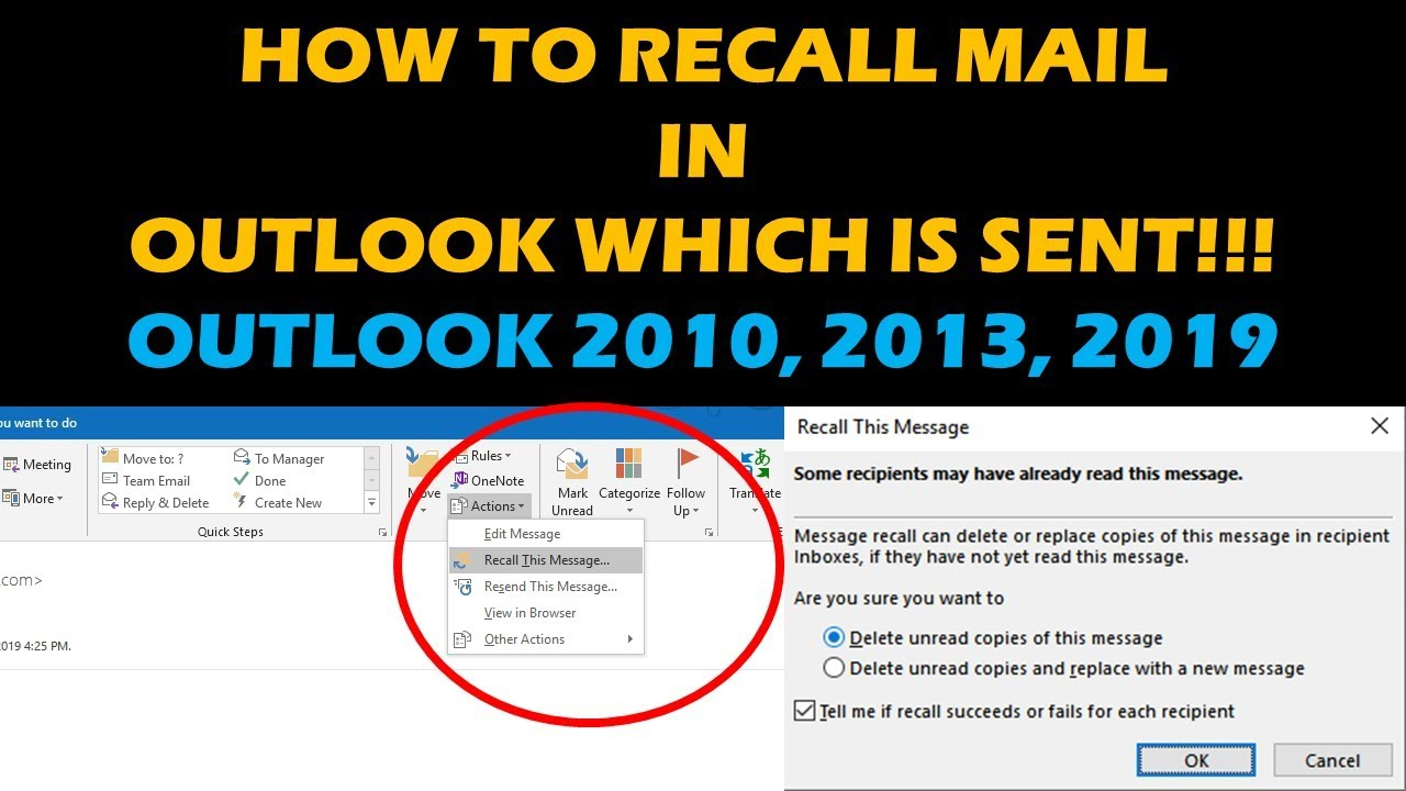 How To Recall And Replace Emails In Outlook 2013 2016 2019 Youtube