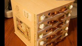 Красивый комодик из картона.beautiful Chest Of Drawers Made of Cardboard.