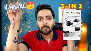 Motorola Tech3 - 3 in 1 Hybrid Earphones Unboxing amp Hands On