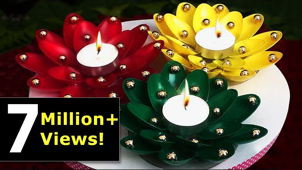 DIY Diwali/Christmas Home Decoration Ideas : How to Decorate Diwali Diya from Plastic Spoons?