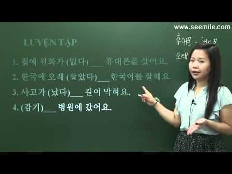 Hoc Tieng Han So Cap - Bai 09 - Vi Cam Cum Nen Da Den Benh Vien ( Vi ....nen...)