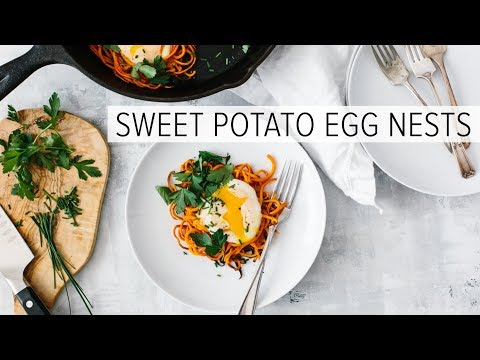 SPIRALIZED SWEET POTATO EGG NESTS | healthy breakfast recipe
