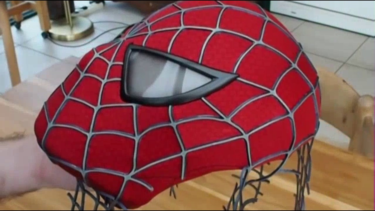 Spider Man Costume Replica Mask with Magnetic Eye Frames unfinished ...