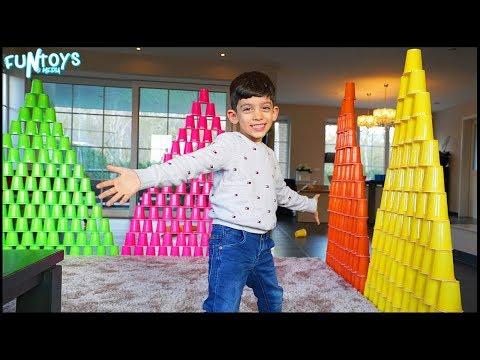 Jason Stacks Five Huge Cup Pyramids for Fun!