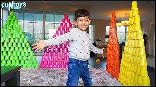 Jason Makes Huge Cup Pyramids for Fun!