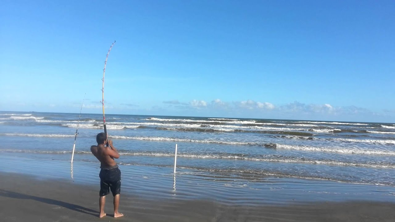 Galveston tx surf fishing 10 7 14 bull redfish 3 youtube for Fishing galveston tx