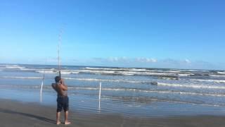 Galveston TX Surf Fishing 10/7/14 Bull Redfish #3