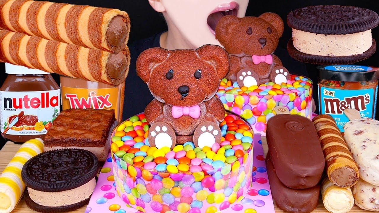ASMR BEAR CHOCOLATE ICE CREAM CAKE MAGNUM NUTELLA TWIX M&M'S OREO DESSERT MUKBANG 먹방咀嚼音EATING SOUNDS