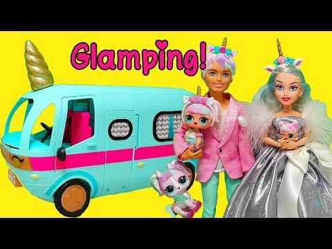 Barbie LOL Unicorn Family Goes Glamping ! Toys and Dolls Fun Play for Kids | SWTAD
