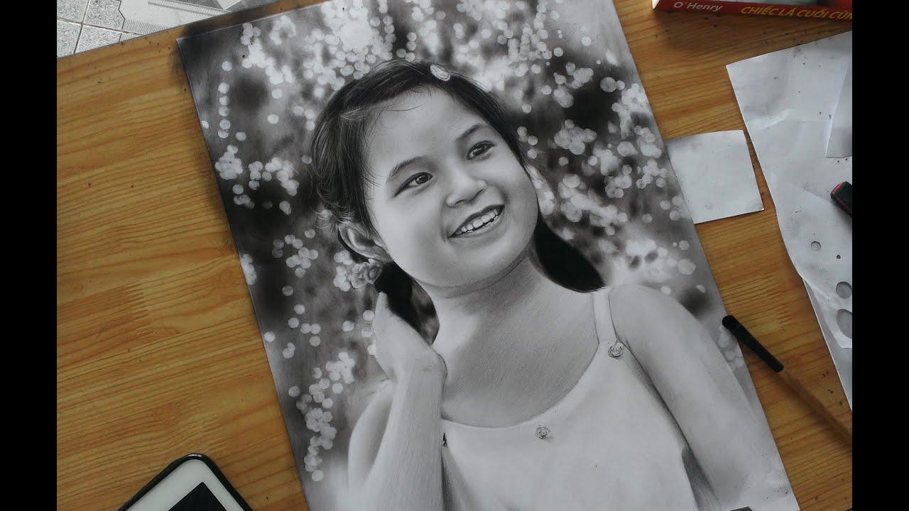 Child portrait – Pencil drawing _ Vẽ chân Dung bé gái dễ thương _ DP