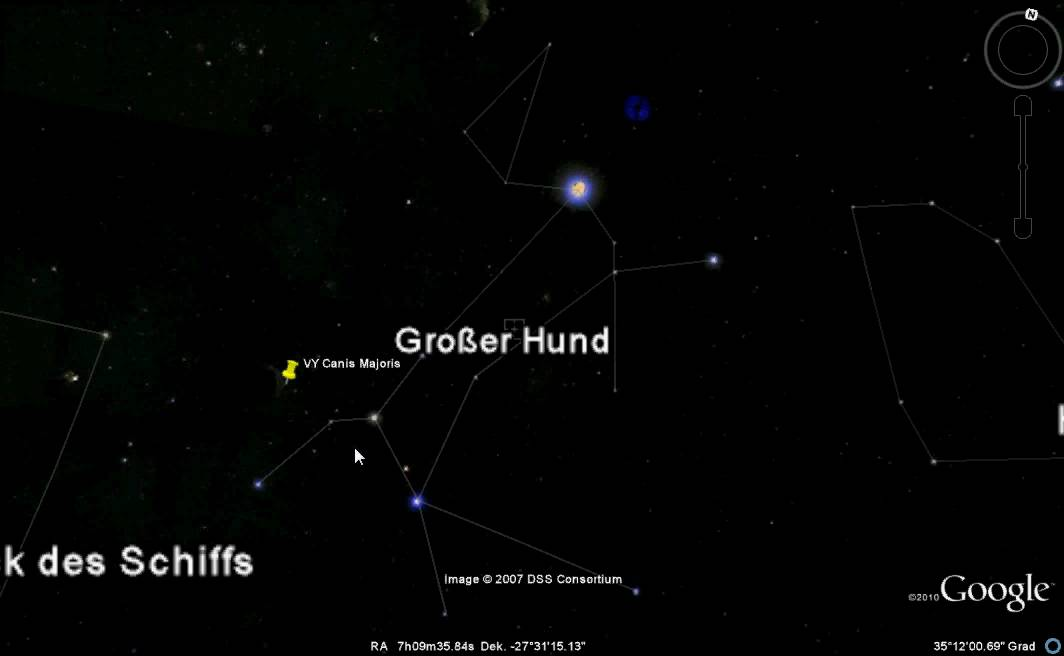 [Tutorial] VY Canis Majoris finden mit Google Earh - YouTube  [Tutorial] VY C...