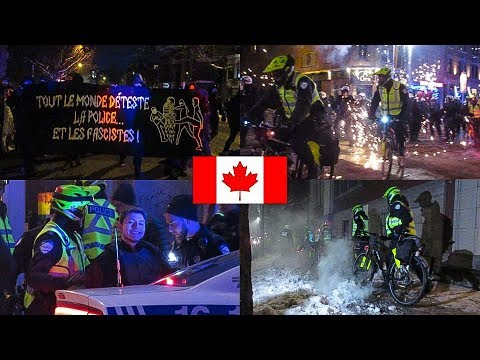 Montréal | Annual Anti-Police Brutality Protest Turns Violent (Fireworks & Arrests) - RAW FOOTAGE