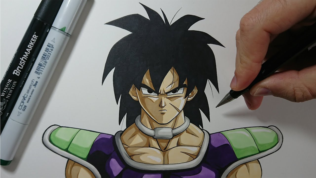 How To Draw Broly 2018 Easy Tutorial Step By Step Youtube
