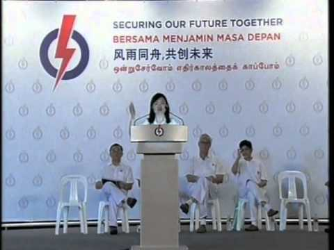 PAP's Tin Pei Ling at Marine Parade GRC rally, Apr 30