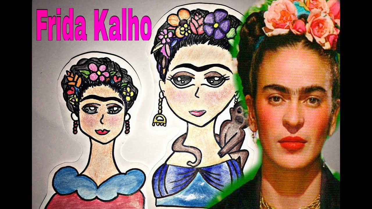 Dibujo Para Colorear De Frida Kahlo: Frida Kalho- Dibujo Tutorial Caricatura