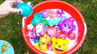SQUISHY Animals in Red Bubble Bucket! Kids Learning with Orbeeze by Squishee Nugget
