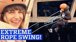 rope swing in abandoned warehouse   people are awesome 2017
