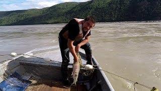 Joe Zuray Checks His Fish Net for King Salmon at Rapids