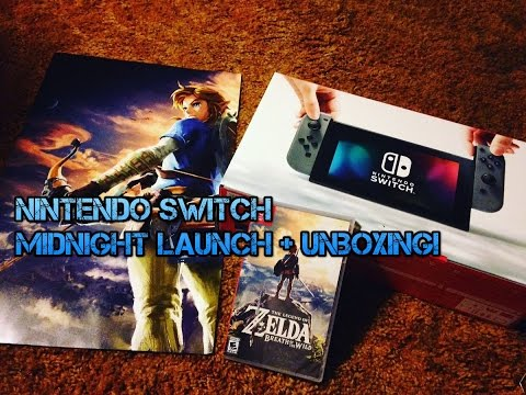 Nintendo Switch Midnight Launch Unboxing Gamestop