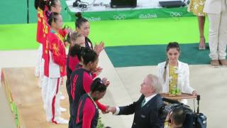 2016 Olympic victory ceremony - women's gymnastics team final - USA