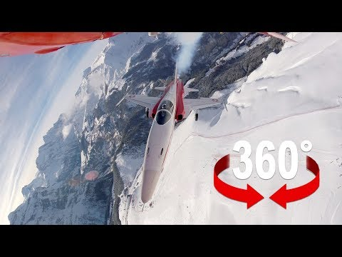 Düse im Kampfjet über das Lauberhorn I 360-Grad-Video