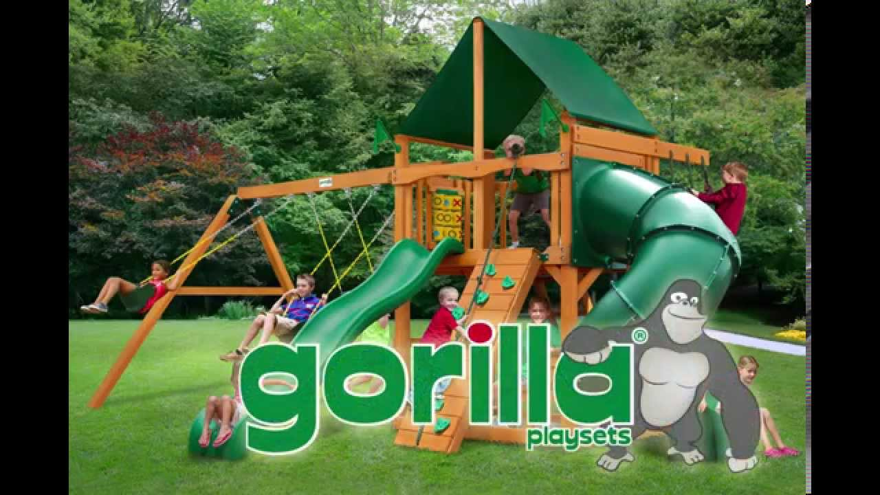 Gorilla Playsets Mountaineer Swing Set W Amber Posts And Sunbrella