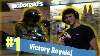 GETTING A FORTNITE VICTORY ROYALE AT MCDONALD'S!! **EPIC**