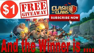 Clash Of Clans |1$ Free GIVEAWAY WINNER ANNOUNCEMENT! Here is the Lucky Winner |Clash With Bhargav