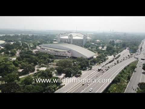 Flying over IGI Stadium in New Delhi