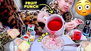TRYING ADRIENNE BAILON'S FRUIT PUNCH TUNA SALAD | WEIRD FOOD COMBINATION