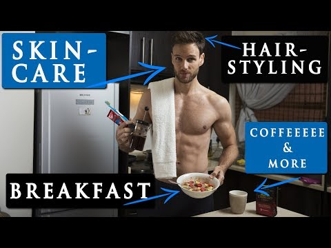 MALE MODEL MORNING ROUTINE | hairstyle, skin care, breakfast & more