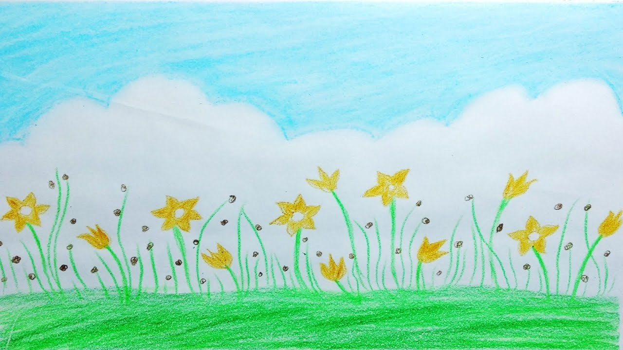 How To Draw Beautiful Flower Scenery Easy Sky With Oil Pastel
