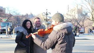 NYC Horse Carriage Rides - Proposal at Cherry Hill Fountain in Central Park with Violinist