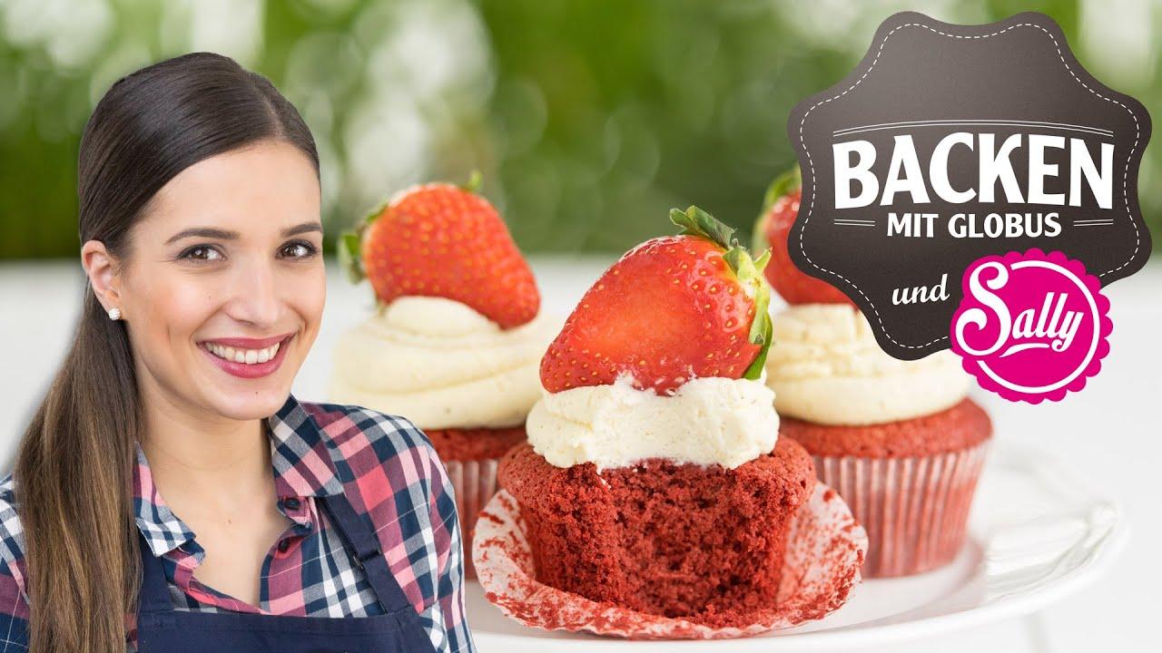 red velvet cupcakes mit erdbeeren backen mit globus sallys welt 3 youtube. Black Bedroom Furniture Sets. Home Design Ideas