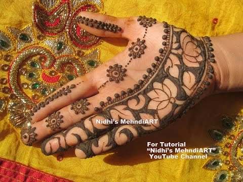 Mehndi Lotus Drawing : Crazy wedding special lotus strip with negative space technique