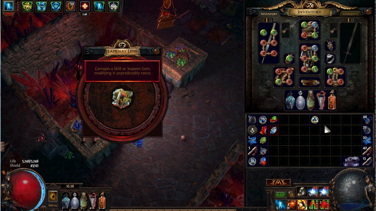 Path Of Exile Lapidary Lens Enlighten Lv 4 Youtube It does not grant a bonus to your character, but to skills in sockets connected to it. exile lapidary lens enlighten lv